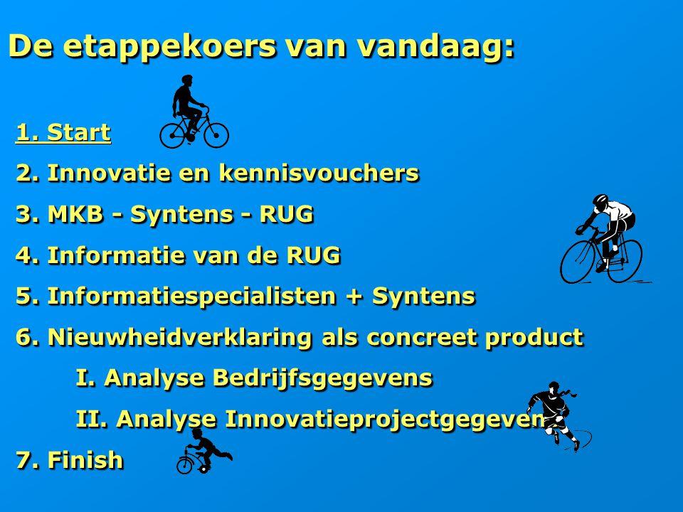 De etappekoers van vandaag: 1. Start 2. Innovatie en kennisvouchers 2. Innovatie en kennisvouchers 3. MKB - Syntens - RUG 3. MKB - Syntens - RUG 4. In