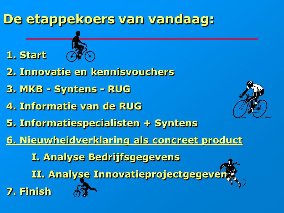 De etappekoers van vandaag: 1. Start 1. Start 2. Innovatie en kennisvouchers 2. Innovatie en kennisvouchers 3. MKB - Syntens - RUG 3. MKB - Syntens -