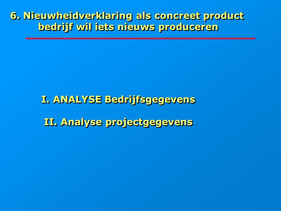 I. ANALYSE Bedrijfsgegevens II. Analyse projectgegevens I. ANALYSE Bedrijfsgegevens II. Analyse projectgegevens 6. Nieuwheidverklaring als concreet pr
