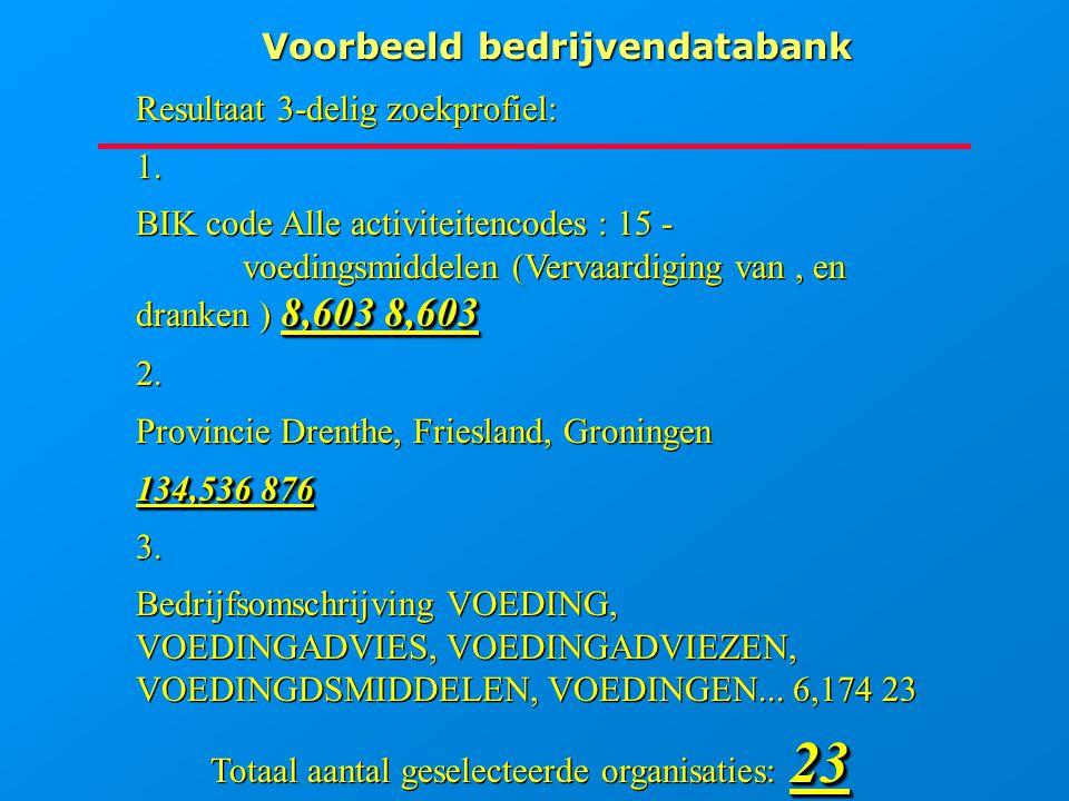 Voorbeeld bedrijvendatabank Resultaat 3-delig zoekprofiel: 1. 8,603 8,603 BIK code Alle activiteitencodes : 15 - voedingsmiddelen (Vervaardiging van,