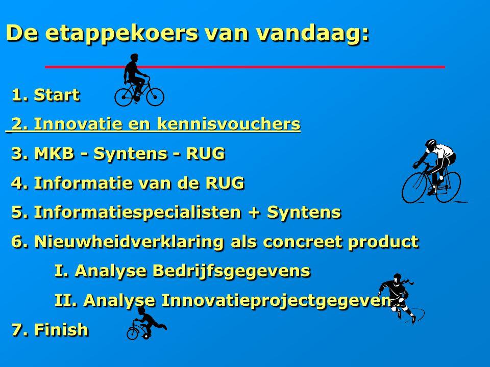 De etappekoers van vandaag: 1. Start 1. Start 2. Innovatie en kennisvouchers 3. MKB - Syntens - RUG 3. MKB - Syntens - RUG 4. Informatie van de RUG 4.