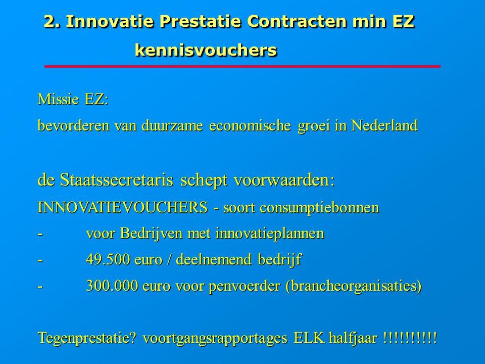 Groeiend MKB =Innovatie Het Bedrijf wil, moet innoveren => investeren Eigen middelen + vreemd geld (bankrente) En/of Subsidies van overheden diverse voorwaarden (kennisvouchers)