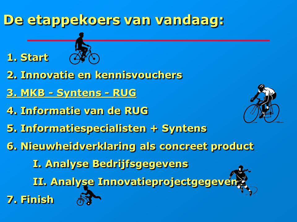 De etappekoers van vandaag: 1. Start 1. Start 2. Innovatie en kennisvouchers 2. Innovatie en kennisvouchers 3. MKB - Syntens - RUG 4. Informatie van d