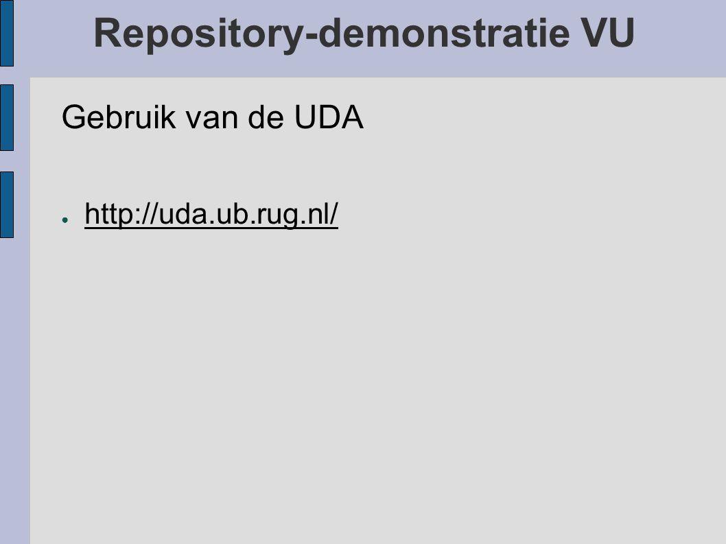 Repository-demonstratie VU Gebruik van de UDA ● http://uda.ub.rug.nl/ http://uda.ub.rug.nl/