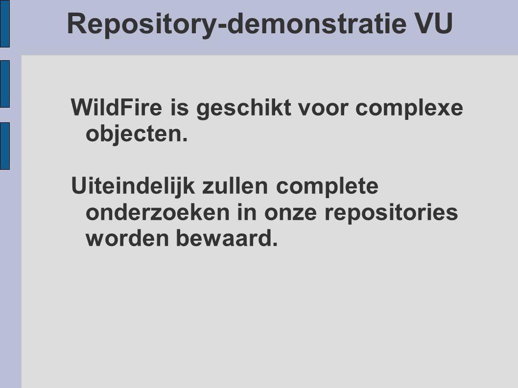 Repository-demonstratie VU WildFire is geschikt voor complexe objecten. Uiteindelijk zullen complete onderzoeken in onze repositories worden bewaard.