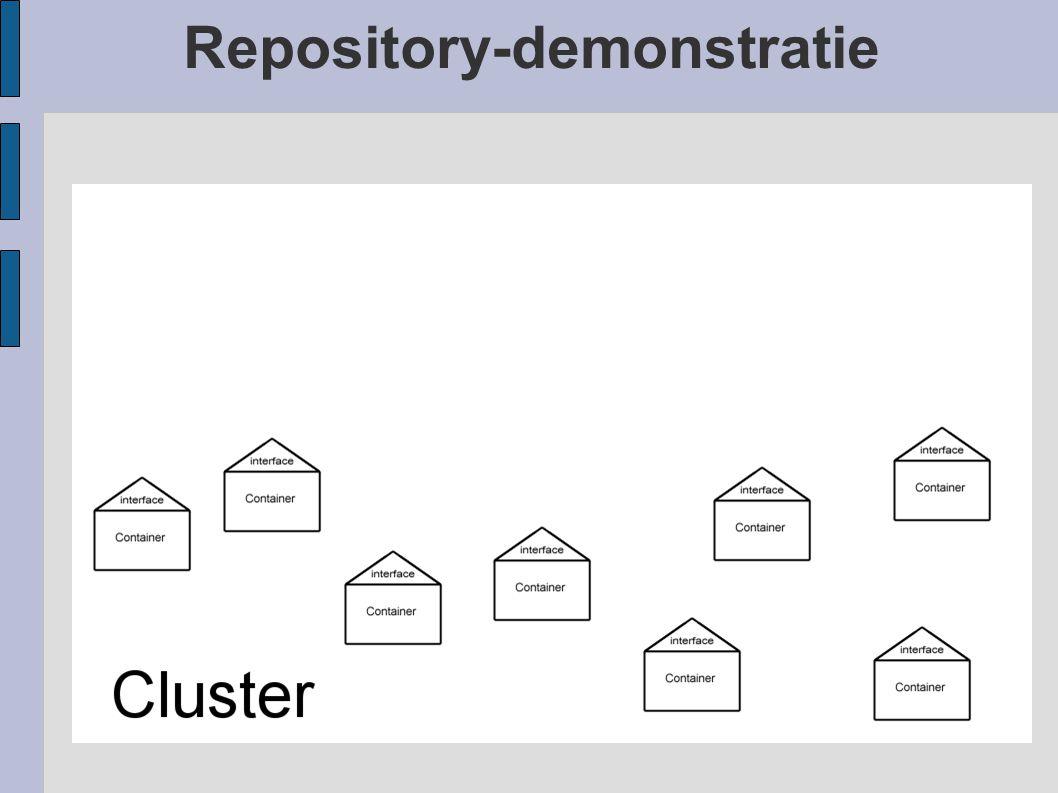 Repository-demonstratie De RUG clustert m.b.v. aggregators Dit zijn harvesters die niet alleen harvesten (oogsten) maar zelf ook m.b.v. OAI-PMH te oog