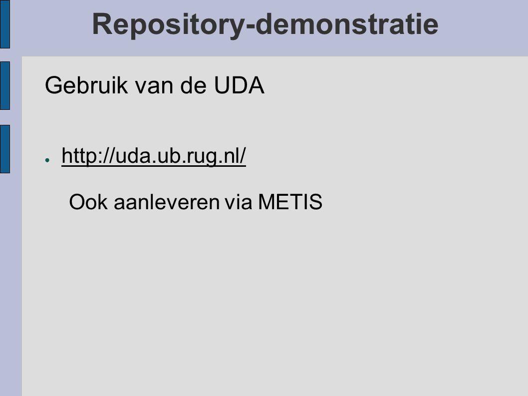 Repository-demonstratie Nieuwe WildFire-software (http://wildfire.eldoc.ub.rug.nl/)http://wildfire.eldoc.ub.rug.nl/ ● Ondersteuning van meerdere (tot