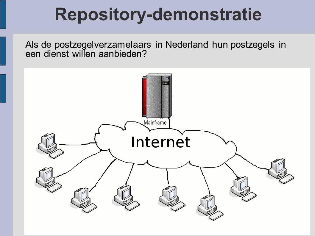 Repository-demonstratie Als de postzegelverzamelaars in Nederland hun postzegels in een dienst willen aanbieden