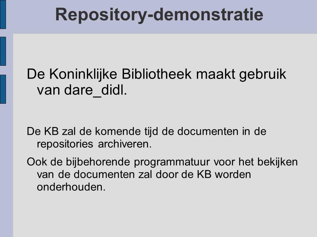 Repository-demonstratie De Koninklijke Bibliotheek maakt gebruik van dare_didl.