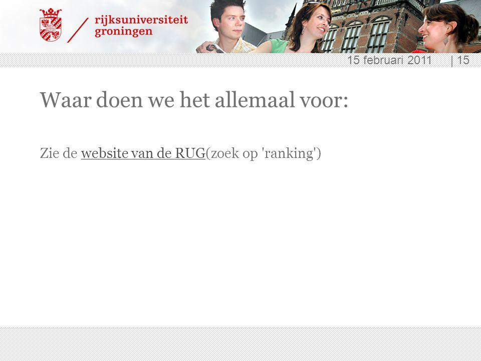 15 februari 2011 | 15 Waar doen we het allemaal voor: Zie de website van de RUG(zoek op 'ranking')website van de RUG