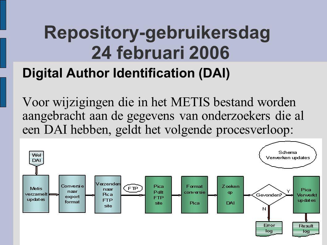 Repository-gebruikersdag 24 februari 2006 Digital Author Identification (DAI) Voor wijzigingen die in het METIS bestand worden aangebracht aan de gegevens van onderzoekers die al een DAI hebben, geldt het volgende procesverloop: