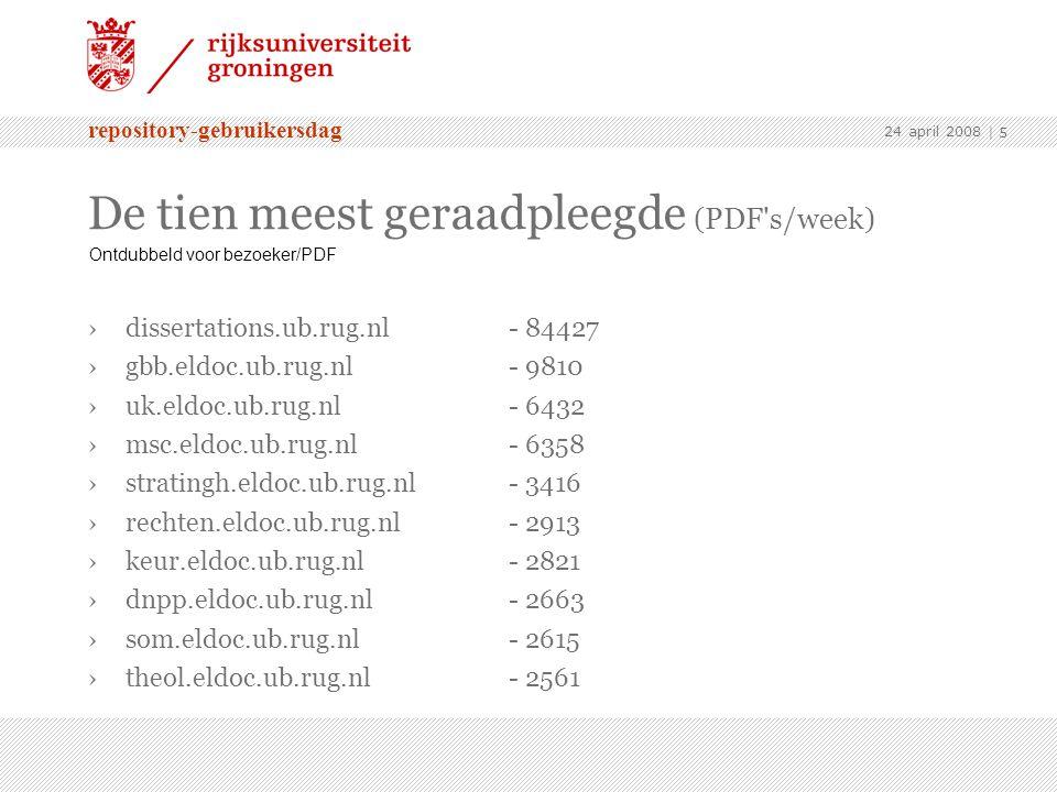 repository-gebruikersdag 24 april 2008 | 5 De tien meest geraadpleegde (PDF s/week)  ›dissertations.ub.rug.nl - 84427 ›gbb.eldoc.ub.rug.nl - 9810 ›uk.eldoc.ub.rug.nl - 6432 ›msc.eldoc.ub.rug.nl - 6358 ›stratingh.eldoc.ub.rug.nl - 3416 ›rechten.eldoc.ub.rug.nl - 2913 ›keur.eldoc.ub.rug.nl - 2821 ›dnpp.eldoc.ub.rug.nl- 2663 ›som.eldoc.ub.rug.nl - 2615 ›theol.eldoc.ub.rug.nl - 2561 Ontdubbeld voor bezoeker/PDF