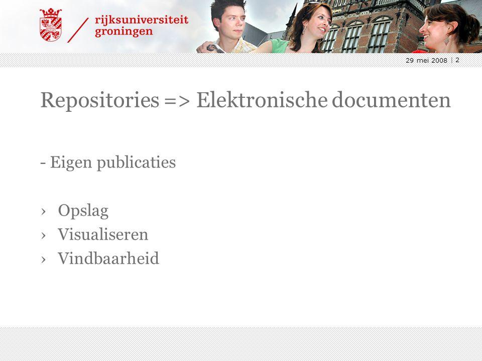 29 mei 2008 | 2 Repositories => Elektronische documenten - Eigen publicaties ›Opslag ›Visualiseren ›Vindbaarheid