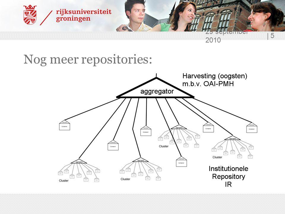 29 september 2010 | 6 Repositories => Elektronische documenten - Eigen publicaties ›Opslag ›Visualiseren ›Vindbaarheid