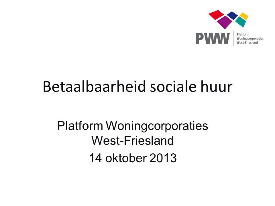Betaalbaarheid sociale huur Platform Woningcorporaties West-Friesland 14 oktober 2013