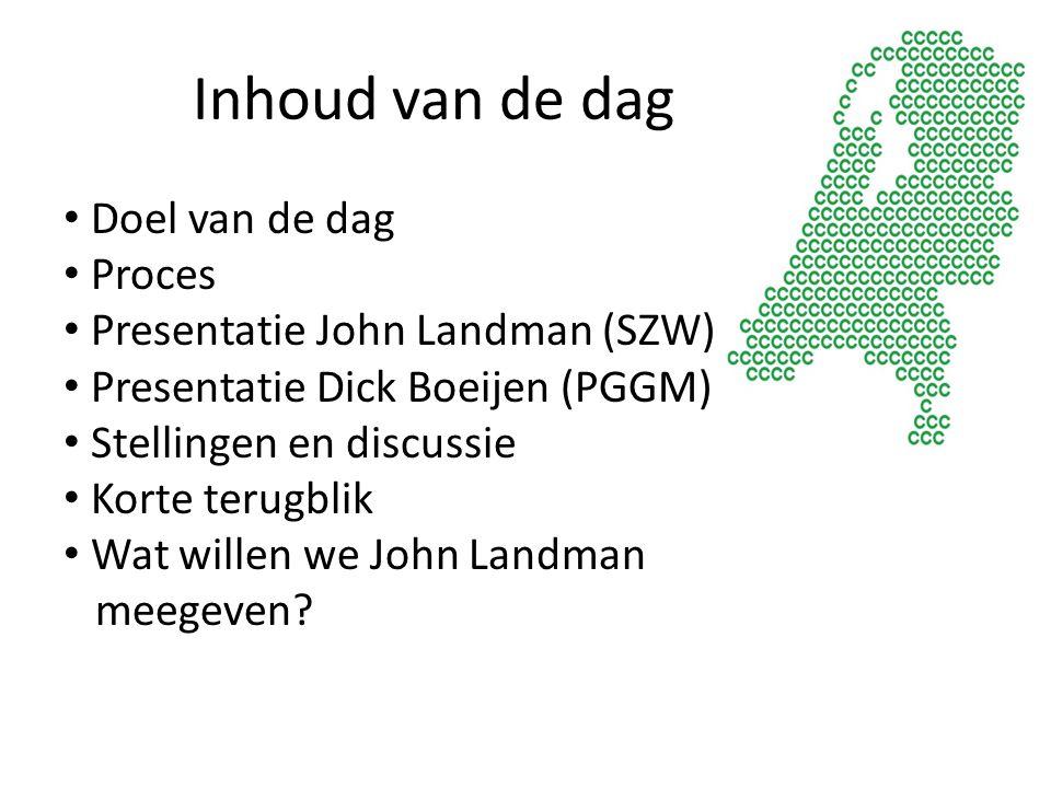 Inhoud van de dag Doel van de dag Proces Presentatie John Landman (SZW) Presentatie Dick Boeijen (PGGM) Stellingen en discussie Korte terugblik Wat wi