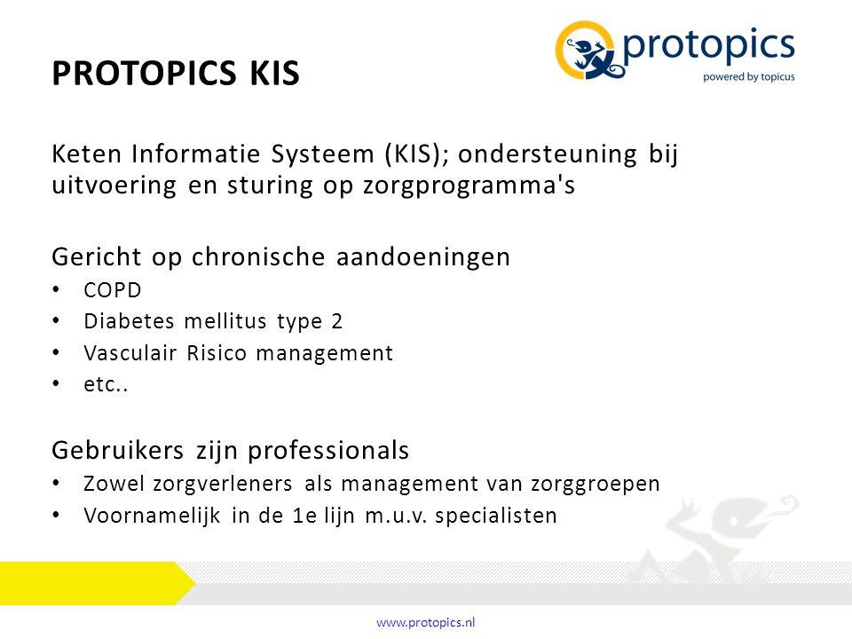 PROTOPICS KIS Keten Informatie Systeem (KIS); ondersteuning bij uitvoering en sturing op zorgprogramma's Gericht op chronische aandoeningen COPD Diabe