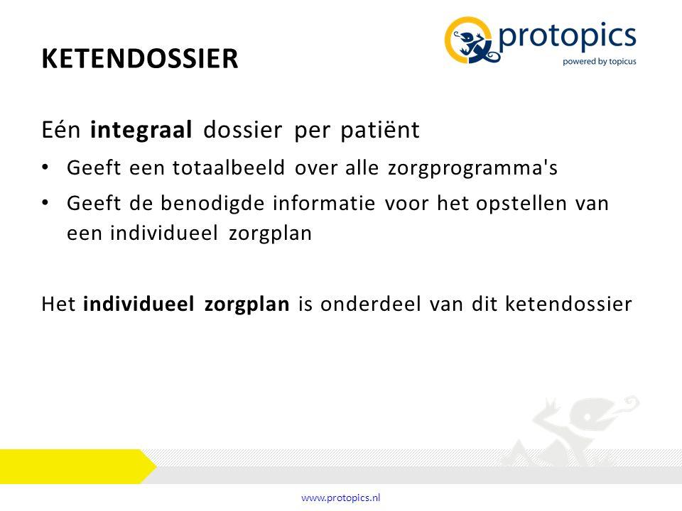 KETENDOSSIER Eén integraal dossier per patiënt Geeft een totaalbeeld over alle zorgprogramma's Geeft de benodigde informatie voor het opstellen van ee