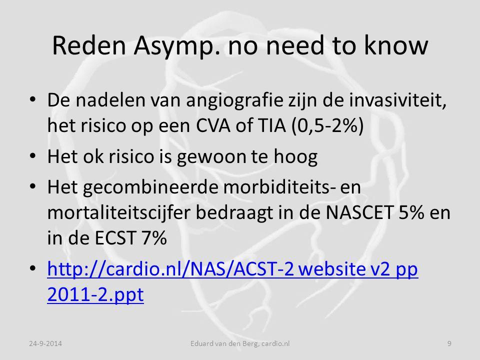 Reden Asymp. no need to know De nadelen van angiografie zijn de invasiviteit, het risico op een CVA of TIA (0,5-2%) Het ok risico is gewoon te hoog He