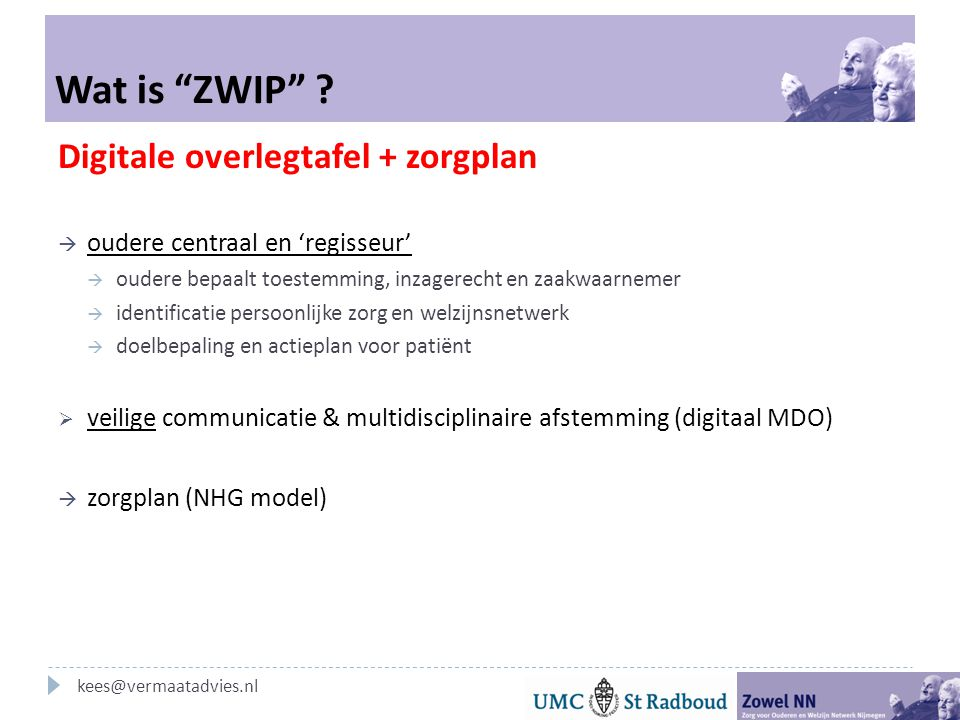 "Wat is ""ZWIP"" ? Digitale overlegtafel + zorgplan  oudere centraal en 'regisseur'  oudere bepaalt toestemming, inzagerecht en zaakwaarnemer  identif"