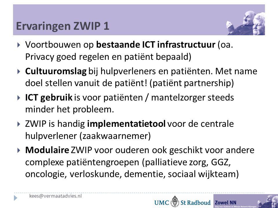 Ervaringen ZWIP 1  Voortbouwen op bestaande ICT infrastructuur (oa. Privacy goed regelen en patiënt bepaald)  Cultuuromslag bij hulpverleners en pat