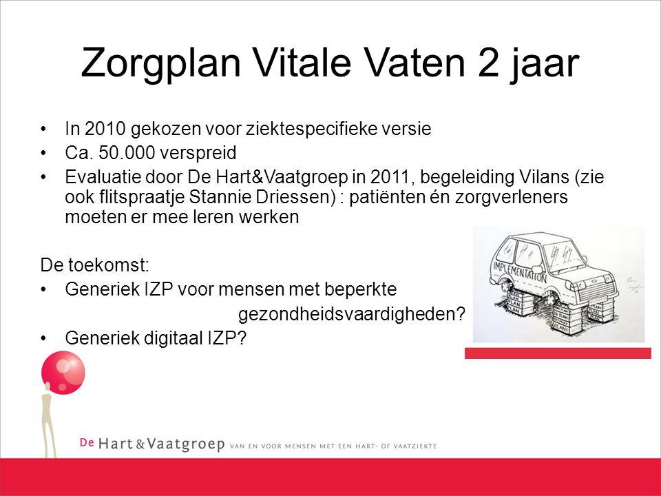 Zorgplan Vitale Vaten 2 jaar In 2010 gekozen voor ziektespecifieke versie Ca. 50.000 verspreid Evaluatie door De Hart&Vaatgroep in 2011, begeleiding V