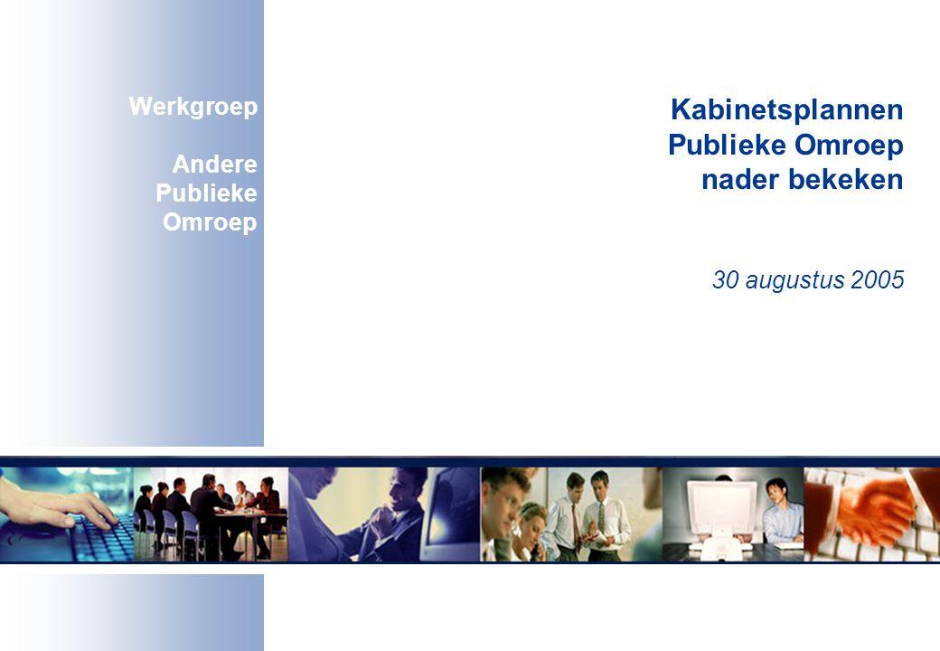 Kabinetsplannen Publieke Omroep nader bekeken 30 augustus 2005 Werkgroep Andere Publieke Omroep