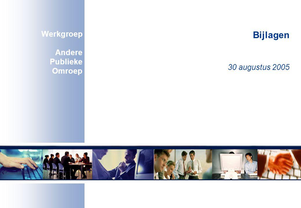 Bijlagen 30 augustus 2005 Werkgroep Andere Publieke Omroep