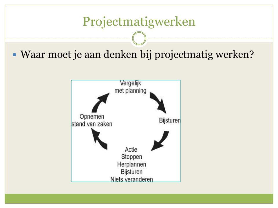 Projectmatigwerken Waar moet je aan denken bij projectmatig werken?