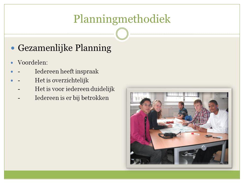Planningmethodiek Gezamenlijke Planning Voordelen: -Iedereen heeft inspraak -Het is overzichtelijk -Het is voor iedereen duidelijk -Iedereen is er bij