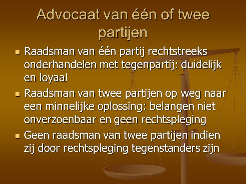 Uitzonderingen Advocaat van verzekeraar in aansprakelijkheid Advocaat van verzekeraar in aansprakelijkheid Voor de wederpartij van een cliënt mits die
