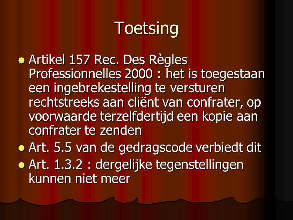 Toetsing Artikel 157 Rec.