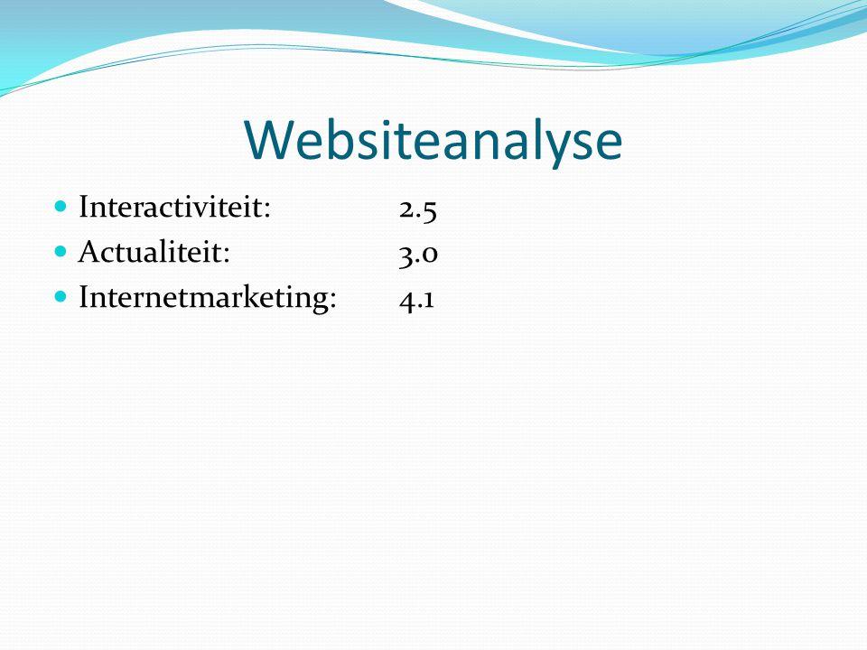 Websiteanalyse Interactiviteit: 2.5 Actualiteit:3.0 Internetmarketing:4.1
