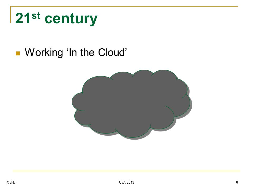 21 st century Working 'In the Cloud' ©akb UvA 2013 8