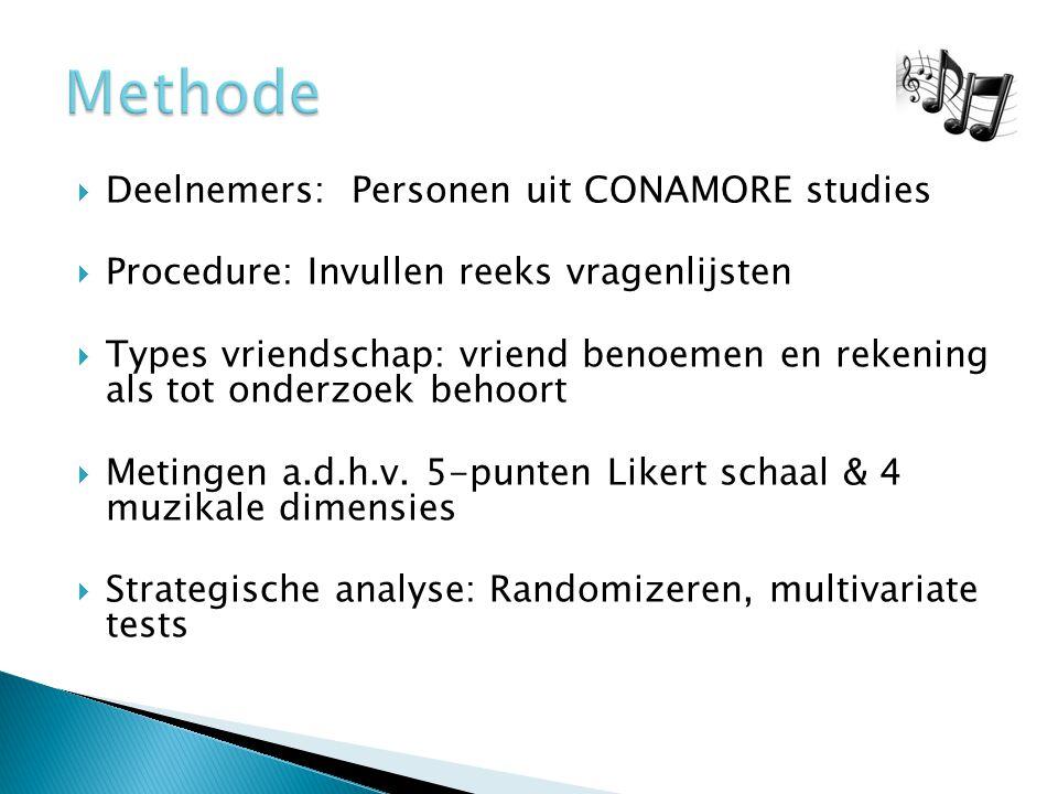  Deelnemers: Personen uit CONAMORE studies  Procedure: Invullen reeks vragenlijsten  Types vriendschap: vriend benoemen en rekening als tot onderzoek behoort  Metingen a.d.h.v.