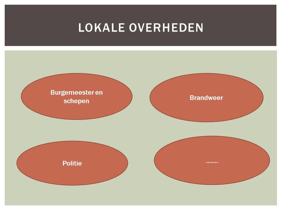 LOKALE OVERHEDEN Burgemeester en schepen Politie Brandweer …….