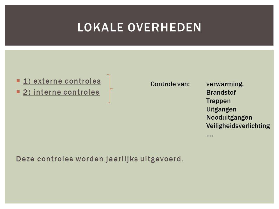  1) externe controles  2) interne controles Deze controles worden jaarlijks uitgevoerd.