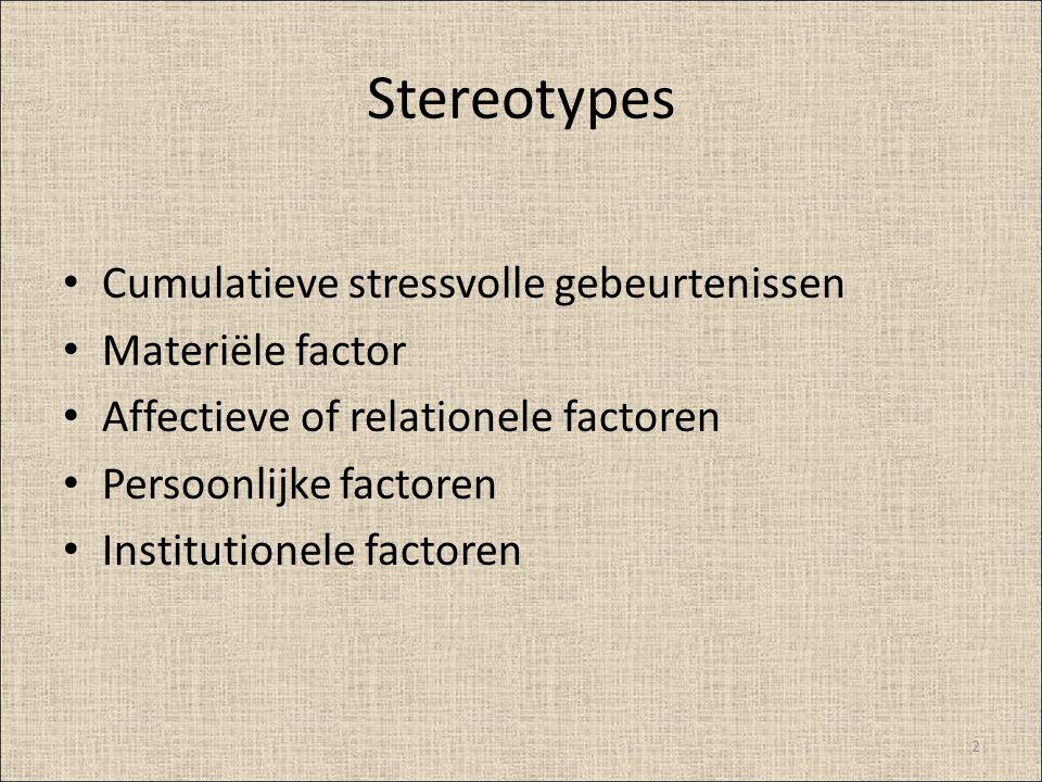 Stereotypes Cumulatieve stressvolle gebeurtenissen Materiële factor Affectieve of relationele factoren Persoonlijke factoren Institutionele factoren 2