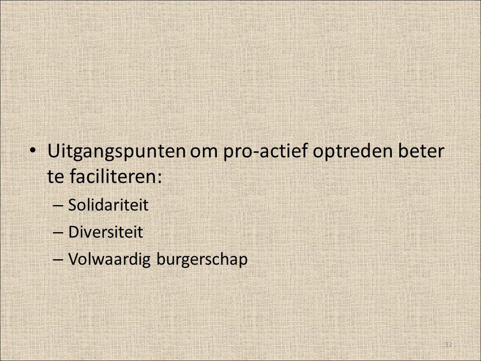 Uitgangspunten om pro-actief optreden beter te faciliteren: – Solidariteit – Diversiteit – Volwaardig burgerschap 32
