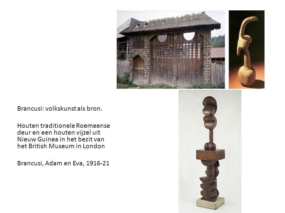 Brancusi: volkskunst als bron. Houten traditionele Roemeense deur en een houten vijzel uit Nieuw Guinea in het bezit van het British Museum in London