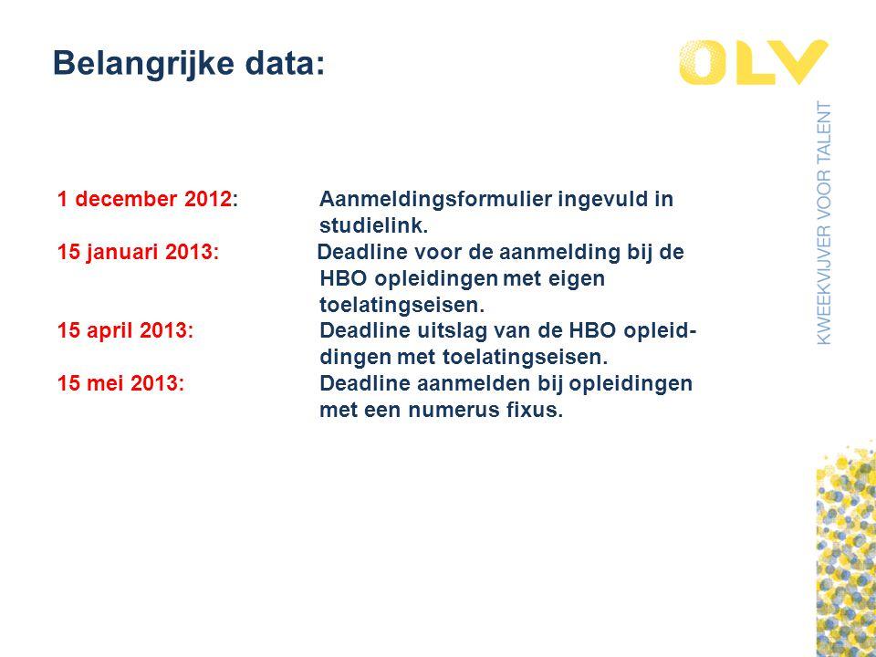 Belangrijke data: 1 december 2012: Aanmeldingsformulier ingevuld in studielink.