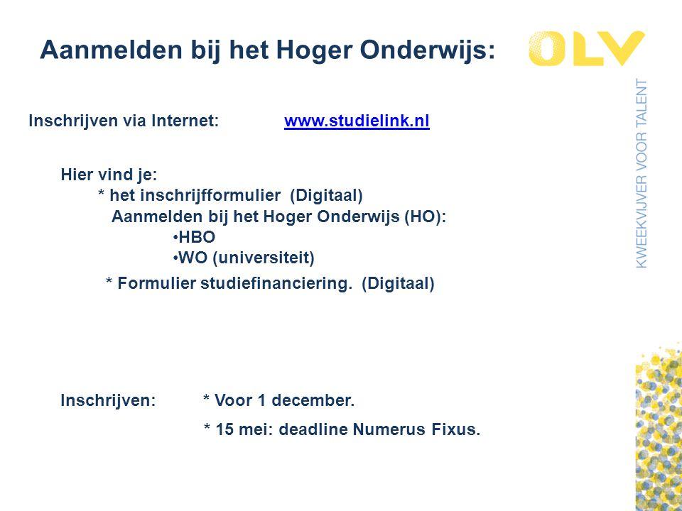 Aanmelden bij het Hoger Onderwijs: Inschrijven via Internet:www.studielink.nl Hier vind je: * het inschrijfformulier (Digitaal) Aanmelden bij het Hoger Onderwijs (HO): HBO WO (universiteit) * Formulier studiefinanciering.