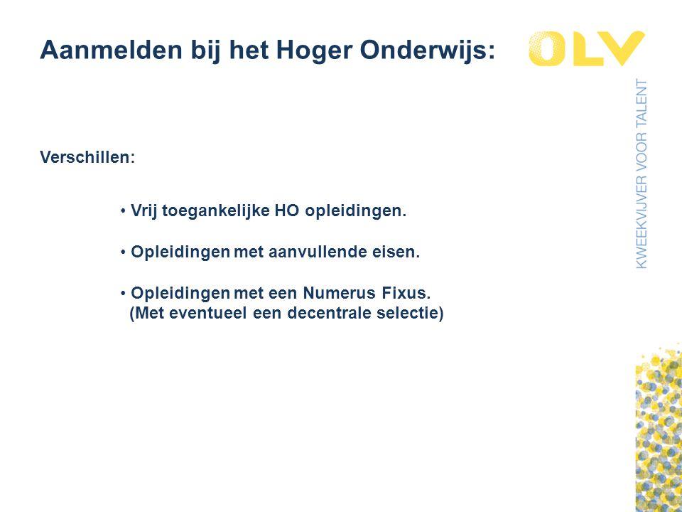 Aanmelden bij het Hoger Onderwijs: Verschillen: Vrij toegankelijke HO opleidingen.