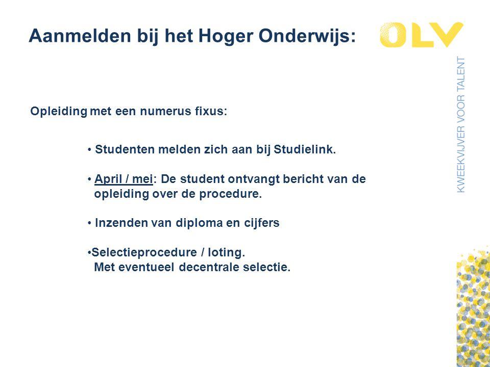 Aanmelden bij het Hoger Onderwijs: Opleiding met een numerus fixus: Studenten melden zich aan bij Studielink.