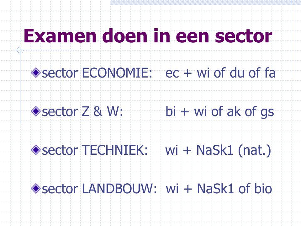 Examen doen in een sector sector ECONOMIE: ec + wi of du of fa sector Z & W: bi + wi of ak of gs sector TECHNIEK: wi + NaSk1 (nat.) sector LANDBOUW: wi + NaSk1 of bio