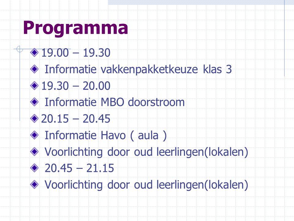 Programma 19.00 – 19.30 Informatie vakkenpakketkeuze klas 3 19.30 – 20.00 Informatie MBO doorstroom 20.15 – 20.45 Informatie Havo ( aula ) Voorlichtin