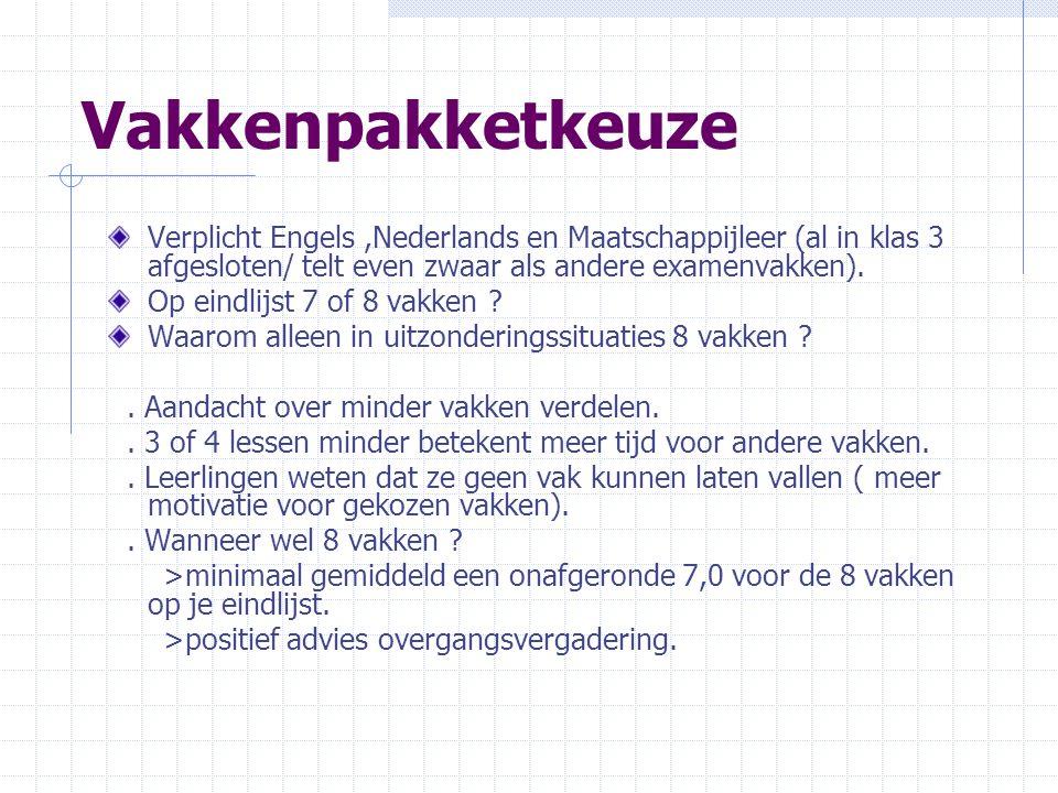 Vakkenpakketkeuze Verplicht Engels,Nederlands en Maatschappijleer (al in klas 3 afgesloten/ telt even zwaar als andere examenvakken). Op eindlijst 7 o