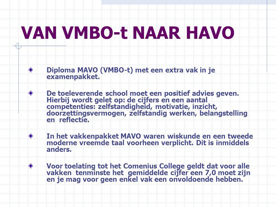 VAN VMBO-t NAAR HAVO Diploma MAVO (VMBO-t) met een extra vak in je examenpakket. De toeleverende school moet een positief advies geven. Hierbij wordt