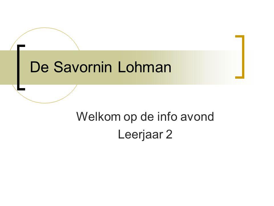 De Savornin Lohman Welkom op de info avond Leerjaar 2