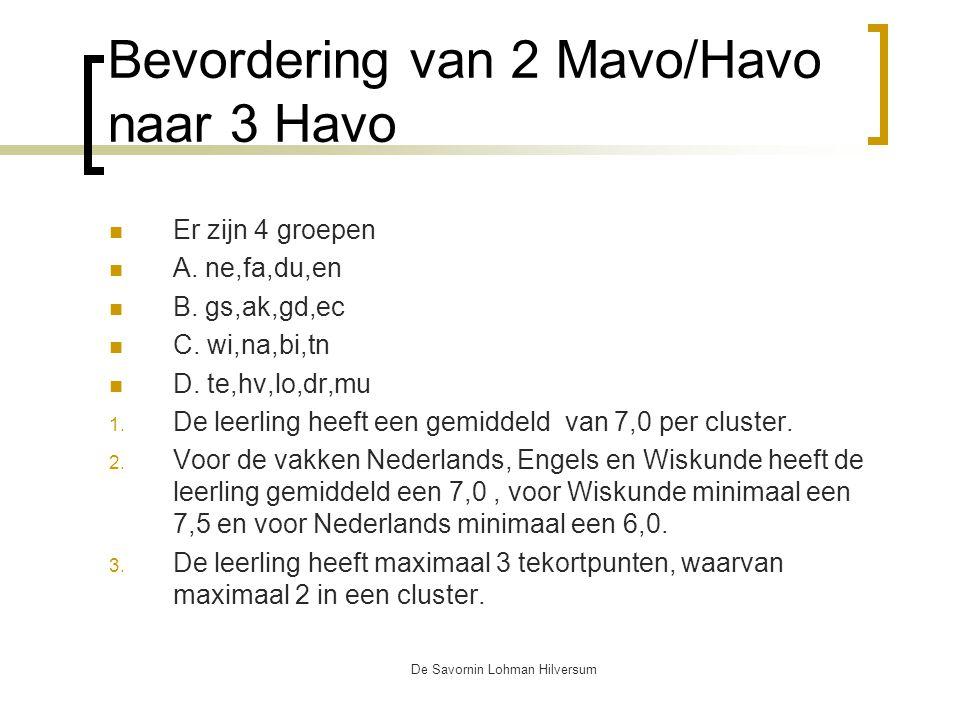 De Savornin Lohman Hilversum Bevordering van 2 Mavo/Havo naar 3 Havo Er zijn 4 groepen A.